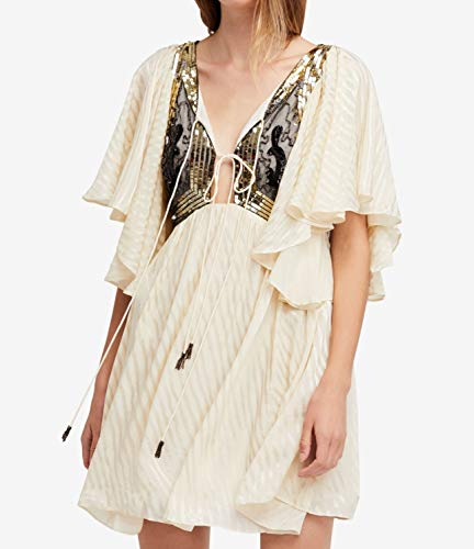 Free People Womens Sequined Embellished Shift Dress Beige XS