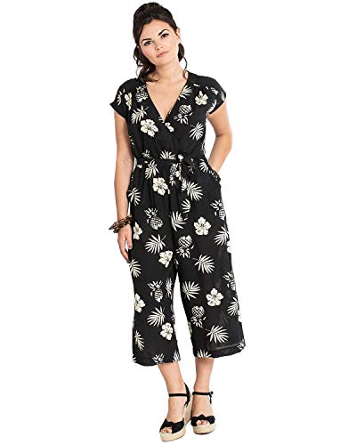 f48c1fb0f5a Hell Bunny Women s Pineapple Tropical Printed Cap Sleeve Surplice Cropped  Jumpsuit Black L