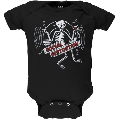 [Social Distortion - Baby-boys Skelly Disc Infant Bodysuit 6-12 Months Black] (Rock And Roll Costume For Kids)