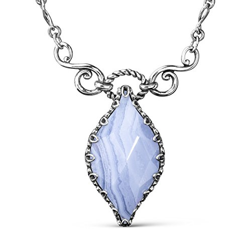 (Carolyn Pollack Sterling Silver Blue Lace Agate Gemstone Marquise Pendant Enhancer Necklace 17 to 19 Inch)