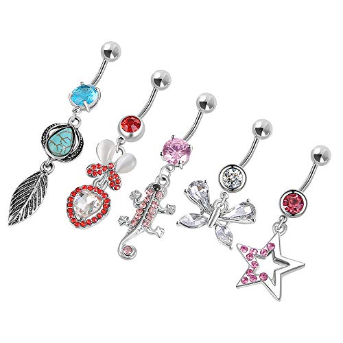 5Pcs Dangle Belly Button Rings for Women Girls Navel Rings Curved Barbell Body Jewelry Piercing 14G (Silvery6 Colorful gems 14G=1.6mm)