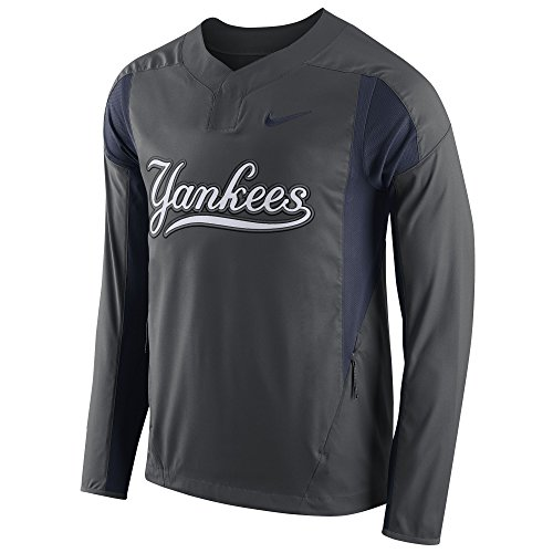 NIKE Men's New York Yankees Long-Sleeve Lightweight Woven Jacket Anthracite Size (Woven Long Sleeves Jacket)