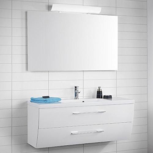 Design Badezimmer Set Hochglanz weiß Badmöbel Waschtisch Waschplatz Spiegel