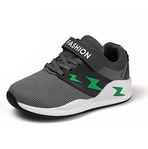 Unisex-Kinder Sneaker Sportschuhe Hohl Klettverschluss Abriebfest Rutschfest Atmungsaktiv Ultraleicht Weiches Leder Turnschuhe Schwarz 36 sTBBMbYde