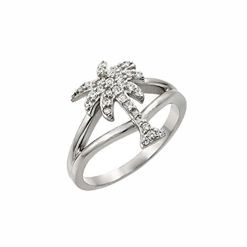 Sterling Silver CZ Palm Tree Band Ring -Size: 9