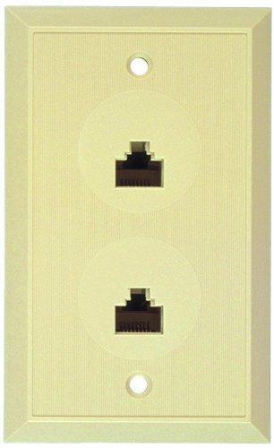 Flush Mount Duplex Wall Jack, 8 Conductor, 8 Position, Plastic, Ivory, Single Gang, 2 -
