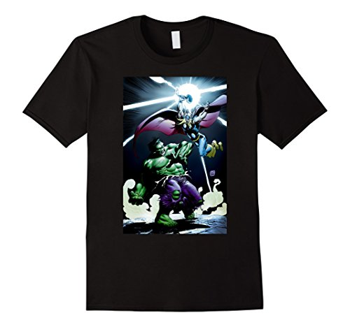 Mens Marvel Thor vs Hulk Mjolnir Smash Graphic T-Shirt 3XL Black (Hulk Smash Shirt)