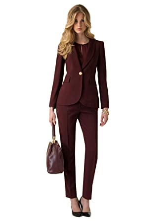 Amazon.com  AK Beauty Women Shawl Lapel Burgundy Two Pieces Suits Slim Fit  Business Women Wedding Suits  Clothing 0332021746