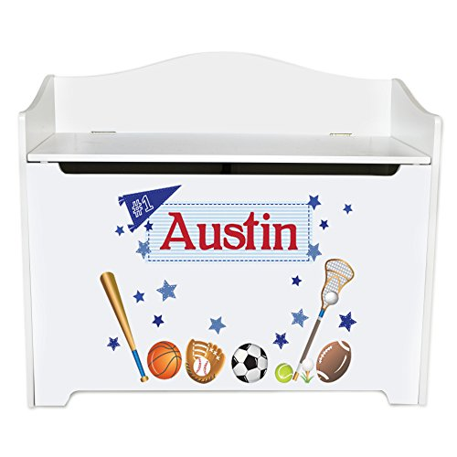 Personalized all sports Toy Box Bench Custom Personalized Toy Bin