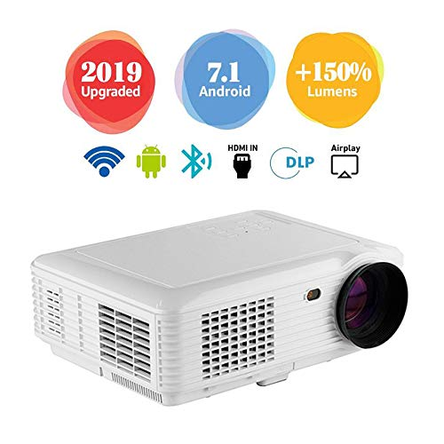Mini Video Projector with Built-in Android System LED HD Projection, Suitable for Video TV Movies, Home Theater, Party Games, Outdoor Entertainment with HDMI USB AV Interface and Remote Control,White
