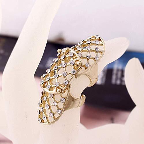 1pcs Women Ring Hollow Rhinestone Full Finger Armor Rings