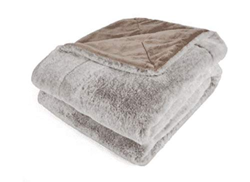 Berkshire Blanket Mocha Tan Reversible Loftmink/Fur Throw wi