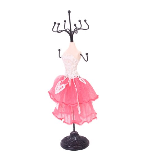 Mini Jewelry Stand Display Gown Lady Earring Necklace Holder Pink And White