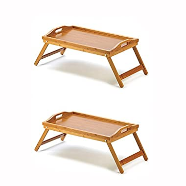 Home & Loft Bamboo Folding Serving Tray With Handles