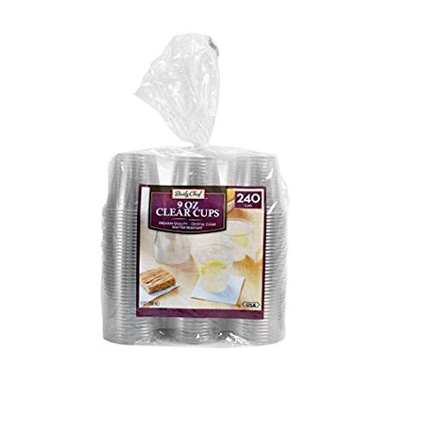 Daily Chef Clear Plastic Cups, 240 Count (9 oz Cups)