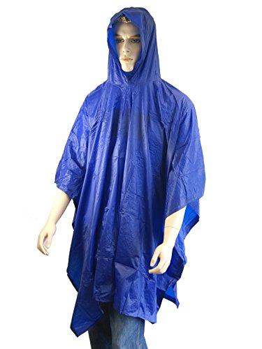 Fahrrad-Notfall-Regenponcho Regencape Cape Regenschutz Regen-Cape Regenmantel Regenjacke, blau, mit Kapuze und seitlichen Druckköpfe
