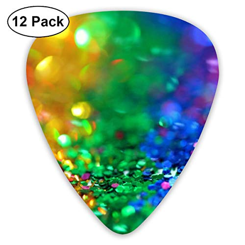Rainbow Assorted-color Sequins Ultra Light 0.46 Medium 0.73 Heavy 0.96mm Printed Round Flat Soft Plastic Jazz Electric Acoustic Bass Guitar Pick Accessories Variety Pack