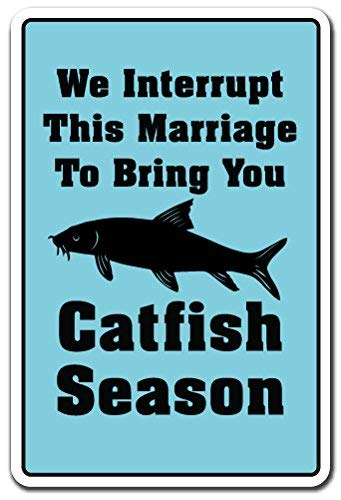 weewen Catfish Season Sign Fishing Rod Pole Food Sport Fun Outdoors Aluminum Sign Metal Gift Sign for Garage Driveway Wall Decorative