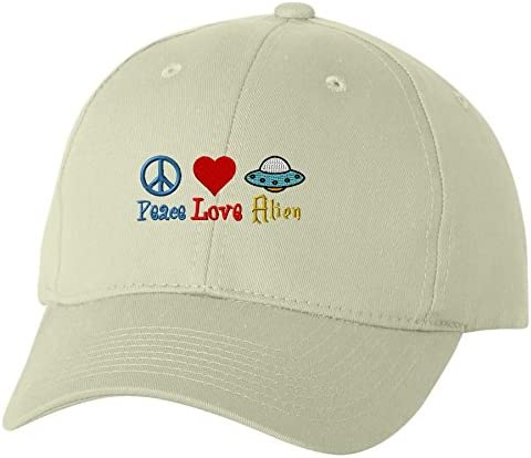 Unlimited Embroidery Peace Love Alien Custom Embroidery Embroidered Baseball Hat Cap