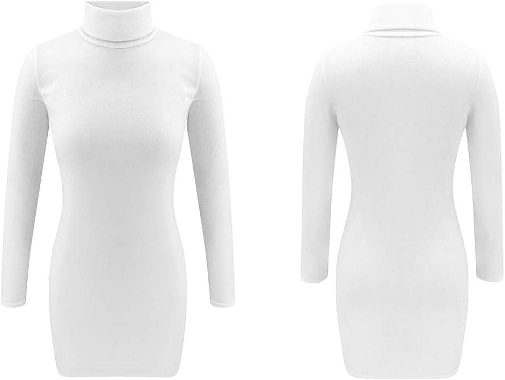 Hengxing Women Bodycon Dress Long Sleeve Turtleneck Slim Fit Mini Dress
