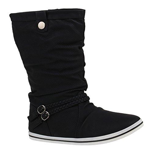 Bequeme Damen Stiefel Schlupfstiefel Lochungen Flache Boots Leder-Optik Metallic Schuhe Flandell Schwarz Cut-outs
