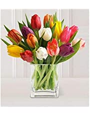 15 Stems of Mixed Tulips with Glass Vase (Tulips Exclusive Bouquet)