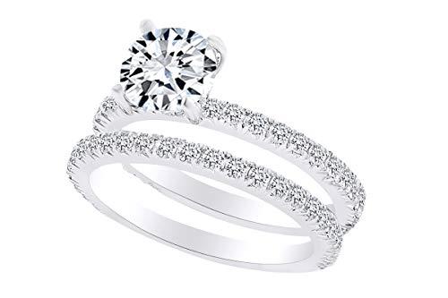 0.90 Carat Round Shape White Natural Diamond Semi Mount Wedding Band Ring 18K Solid White Gold Ring Size-8