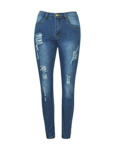 Pants Denim Crayon Jeans Casual Slim Femme Leggings Pantalons Bleu Collant Taille Haute Dchir FwCddPqU