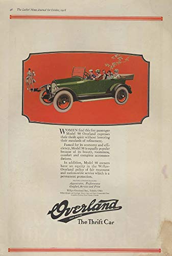 Women find this five passenger Model 90 Overland Touring Car ad 1918 LHJ ()