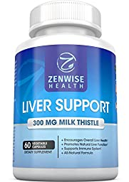 Liver Support Supplements – With 300 MG of Natural Silymarin Milk Thistle Extract – Premium Cleanse & Detox Formula for Ultimate Liver Health and Protection – 60 Count Capsules