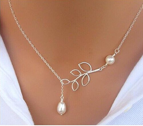 BeeSpring Fashion Jewelry Pendant Chain Pearl Choker Chunky Statement Bib Charm Necklace