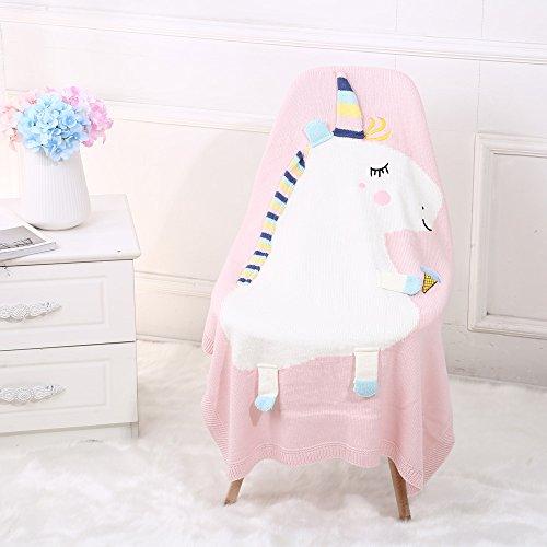 "Baby Swaddle Blanket, Oenbopo Soft Warm Unicorn Crochet Knit Baby Kids Wrap Stroller Blanket for Boys or Girls Crib Bedding, Nursery, Sleeping and Security - 41.3"" x 29.5"" (Pink) from oenbopo"