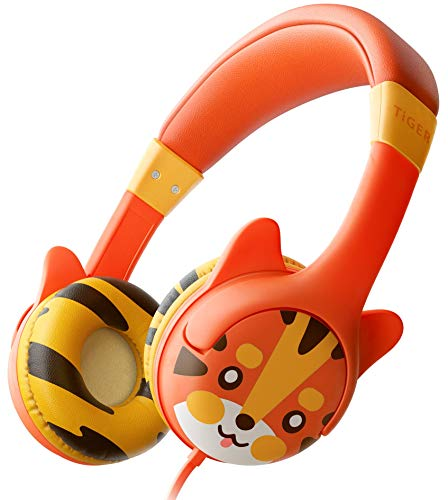 Kidrox Tiger-Ear Kids Headphones – Wired Headphones for Kids, Toddlers, 85dB Volume Limited, Adjustable Headband, Tangle Free Cable, Childrens Earphones on Ear, Toddler Headphones