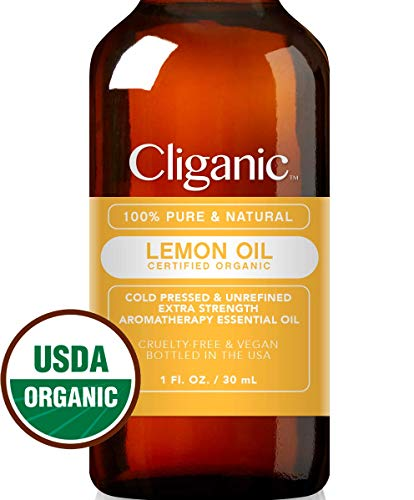 USDA Organic Lemon Essential Oil, 100% Pure & Natural (1oz Large) | Undiluted, Therapeutic Grade for Aromatherapy, Skin, Household Cleaning | Premium Certified Organic | Cliganic 90 Days Warranty