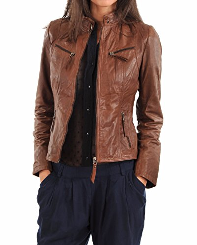Lambskin Leather Bomber Biker Jacket Small Brown ()