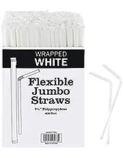 Plastic white flexible Drinking Straws Bulk 400 Bulk , Individually Wrapped Disposable White Straws 7.75 Inches Long
