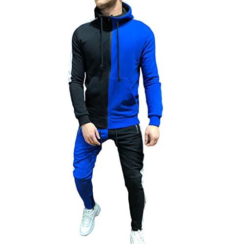 Men's Tracksuit Set Camouflage Sweatshirt Jogger Sweatpants Solid Patchwork Warm Sports Suit