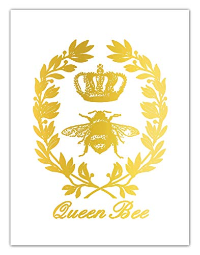 Queen Bee With Crown Gold Foil Wall Art Print ()