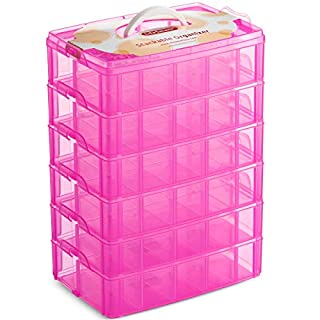 LifeSmart USA Stackable Storage Container Pink 60 Adjustable Compartments Compatible with Lego Dimensions Shopkins Littlest Pet Shop Arts and Crafts and More (Standard 6 Tier)