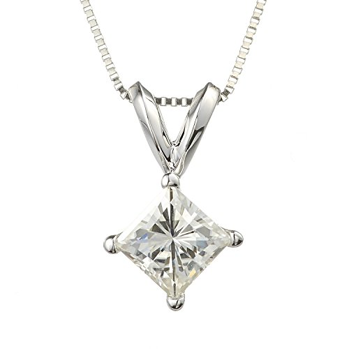 White Gold Square Brilliant Cut 4.5mm Moissanite Pendant Necklace, 0.60ct DEW by Charles & -