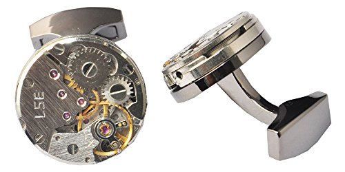 D&L Menswear Mechanical Gear Steampunk Watch Movement Round Cufflinks With Black Gift Box 4
