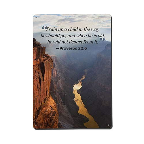 Yilooom Train A Child in The Way He Should Go - Bible Verses - Novelty Metal Sign Wall Decor Iron Plaque