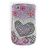 Lavender Silver Heart Diamonds Protector Phone Case for BlackBerry Curve 8530 / 8520