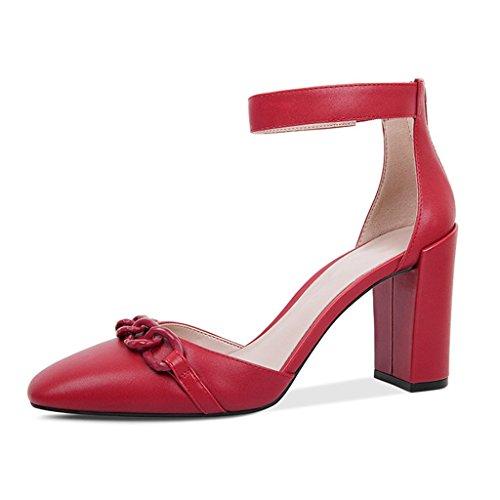 Été Cuir Chaussures Orteils Red Épais Femmes Talons Romaines Recouvertes Et Véritable Hauts Talons Carrés avec des des De pour en avec JIANXIN Et Sandales Femmes De Printemps qwdtTPqXp