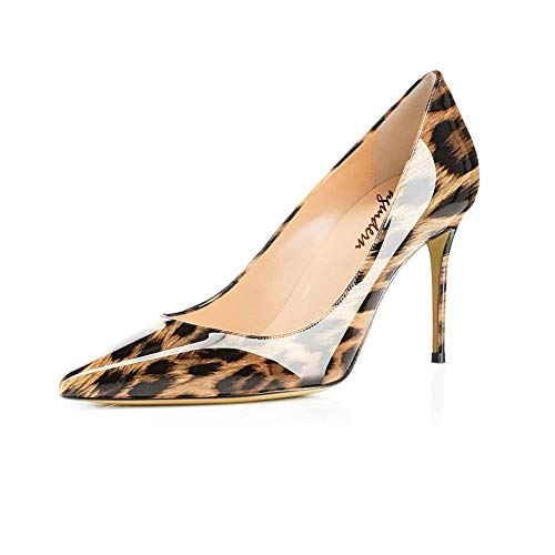 Maguidern Women's Brown Leopard Print Sexy Pointed Toe High Heels, 4 inches Heels Patent Leather Pumps,Wedding Dress Shoes,Cute Evening Stilettos - 10 M US