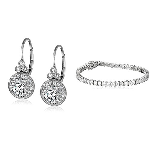 Platinum-Plated Sterling Silver Swarovski Zirconia Princess-Cut Tennis Bracelet and Vintage Leverback Halo Earrings Set (Brilliant Cut Princess Bracelet)