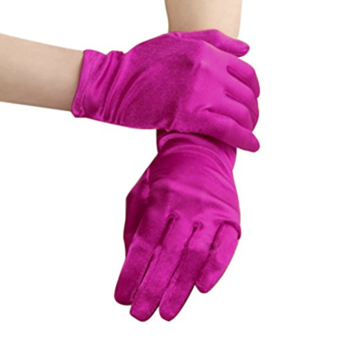 Womens Elegant Opera Short Satin Gloves Ladies Classic Banquet Party Wedding Colorful Gloves Special Occasion Halloween Fancy Dress Party Evening Costume Gloves Wrist Length