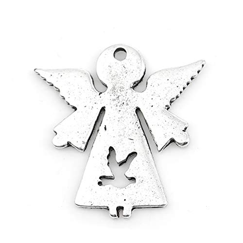 (Angel Charm Pendants, 20 Pack Silver Tone About 1 Inch, Religious Jewelry or Scrapbooking Arts and Crafts (Dove on Silhouette))