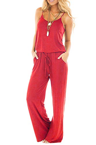 sullcom Women Summer Solid Sleeveless Wide Leg Jumpsuit Casual Spaghetti Strap Stretchy Long Pant Rompers (Large, Red) ()