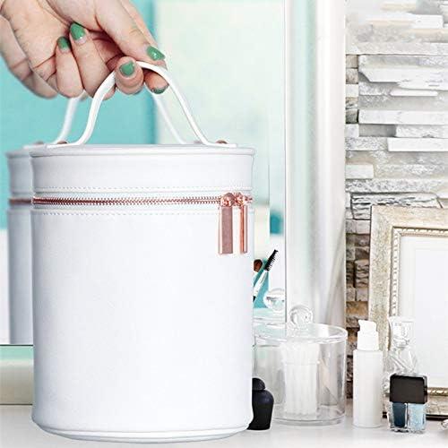 円筒化粧品バッグ、多機能分類保管バッグ、PU素材、化粧鏡付き、白、家庭用および旅行用仕上げバッグに最適